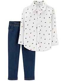 Baby Boys 2-Pc. Food-Print Cotton Shirt & Denim Jeans Set
