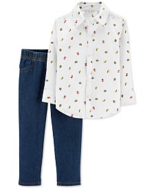 Carter's Baby Boys 2-Pc. Food-Print Cotton Shirt & Denim Jeans Set