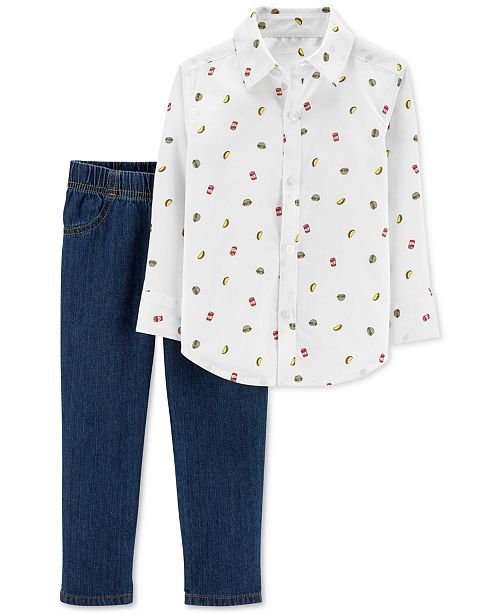 Carter's Baby Boys 2-Pc. Food-Print Cotton Shirt & Denim Jeans Set
