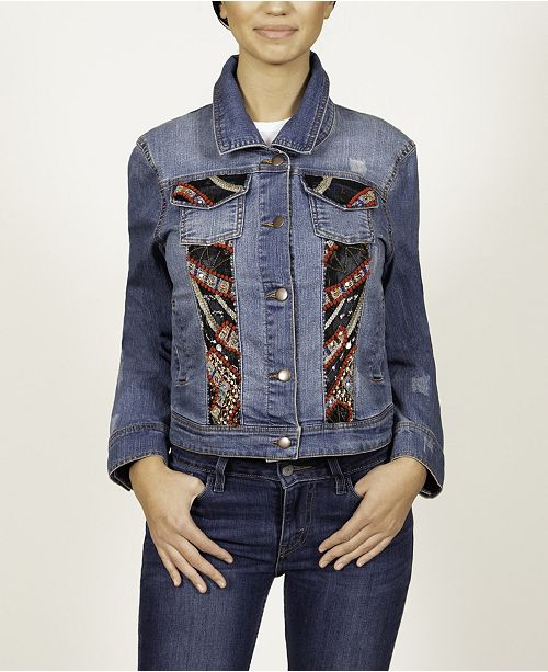 Celestial Blue Long Sleeve Denim Jacket with Embroidery
