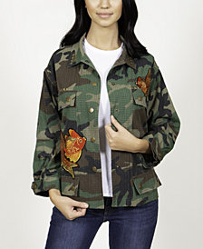 Camo Jacket with Coy Fish Patches and Studded Detail