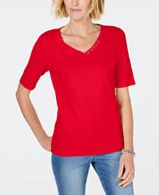Karen Scott Petite Cotton V-Neck Top, Created for Macy's