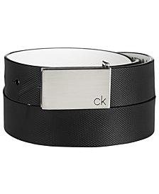 Calvin Klein Men's Textured Leather Plaque Belt