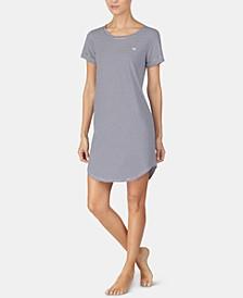 Stripe-Print Logo Embroidery Sleepshirt Nightgown