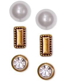 Gold-Tone 3-Pc. Set Crystal & Imitation Pearl Stud Earrings