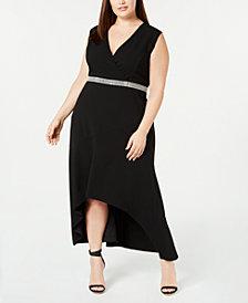 Calvin Klein Plus Size Embellished High-Low Dress