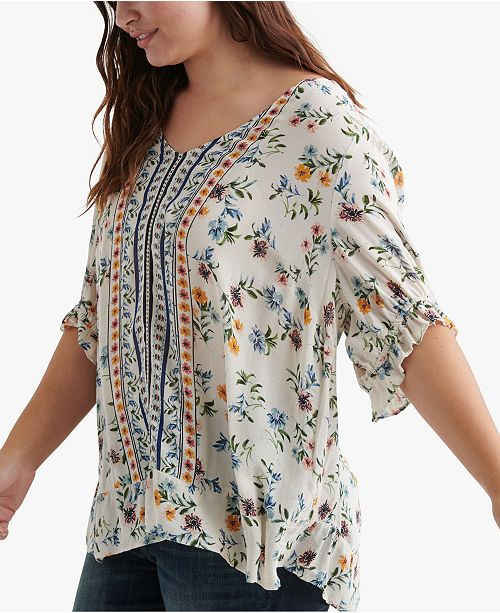 Lucky Brand Plus Size Printed Ruffle Top