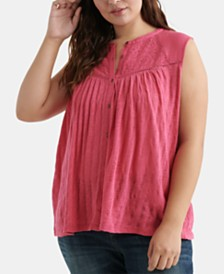Lucky Brand Cotton Plus Size Eyelet-Yoke Top