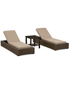 Camden Outdoor Aluminum 3-Pc. Seating Set (2 Chaise Lounges & 1 End Table), Created for Macy's