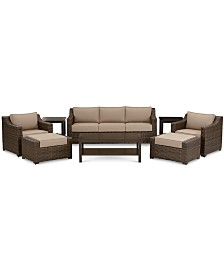 Camden Outdoor Aluminum 8-Pc. Seating Set (1 Sofa, 2 Chairs, 1 Coffee Table, 2 Ottomans & 2 End Tables), Created for Macy's