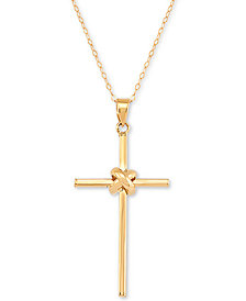 """Polished Cross 18"""" Pendant Necklace in 14k Gold"""
