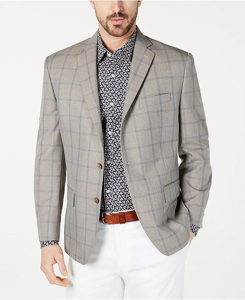 Michael Kors Men's Classic-Fit Tan Windowpane Sport Coat