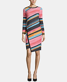 ECI Striped Asymmetrical-Hem Dress