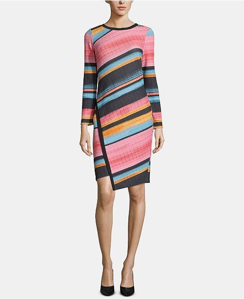 ECI Striped Asymmetrical-Hem Dress