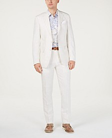 Orange Men's Slim-Fit Linen Taupe/Cream Stripe Suit