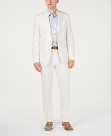 Tallia Orange Men's Slim-Fit Linen Taupe/Cream Stripe Suit