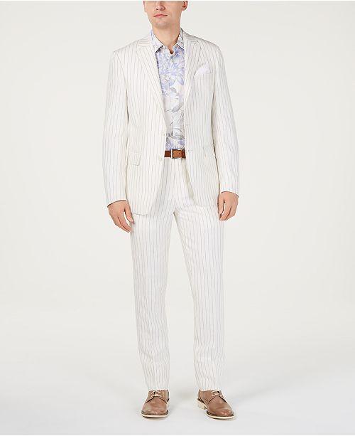 Tallia Orange Men's Slim-Fit Linen Taupe/Cream Stripe Suit