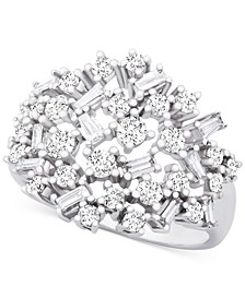 Diamond Scatter Cluster Ring (1 ct. t.w.) in 14k White Gold, Created for Macy's