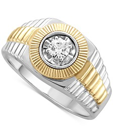 Men's Diamond Two-Tone Ring (1/3 ct. t.w.) in 10k Gold & White Gold