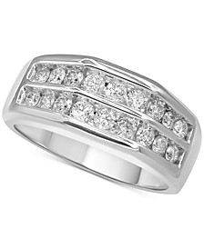 Men's Diamond Double Row Ring (1 ct. t.w.) in 10k White Gold and 10k Yellow Gold