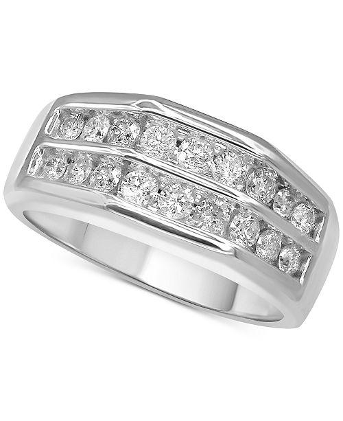 Macy's Men's Diamond Double Row Ring (1 ct. t.w.) in 10k White Gold