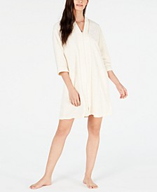 Flower-Embossed Micro Terry Short Zip-Up Robe
