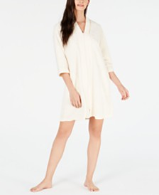 Miss Elaine Flower-Embossed Micro Terry Short Zip-Up Robe