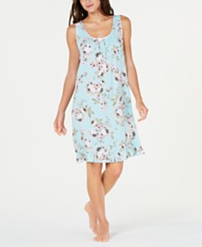 Miss Elaine Flower-Print Ruffled Hem Short Nightgown