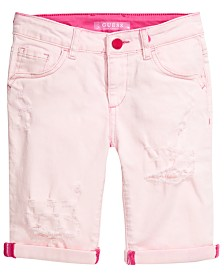 GUESS Big Girls Overdyed Stretch Denim Bermuda Shorts, Created for Macy's
