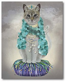 "Grey Cat with Bells Full Gallery-Wrapped Canvas Wall Art - 16"" x 20"""