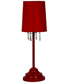 Simple Designs 		Table Lamp with Fabric Shade and Hanging Acrylic Beads