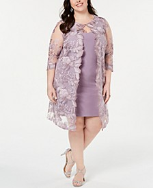Plus Size Embroidered Jacket & Sheath Dress