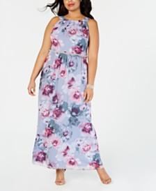 SL Fashions Plus Size Floral-Print Gown