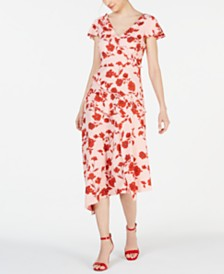 Adrianna Papell Ruffled V-Neck Midi Dress