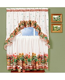 Country Garden Printed Tier and Swag Window Curtain Set, 57x36