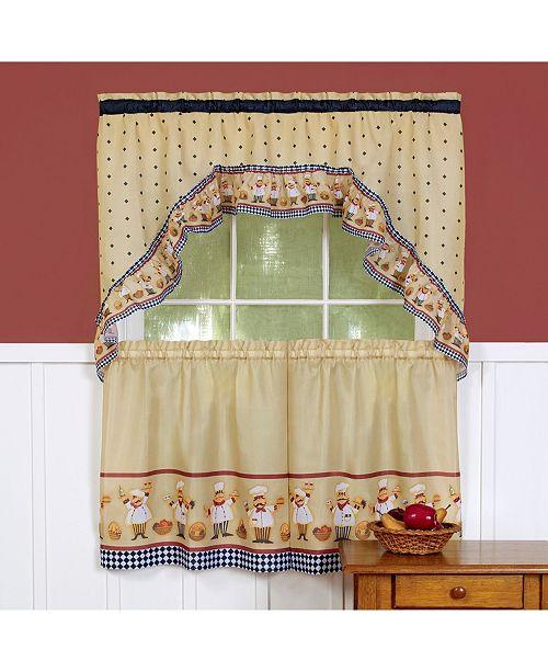 Achim Cucina Printed Tier and Swag Window Curtain Set, 57x36
