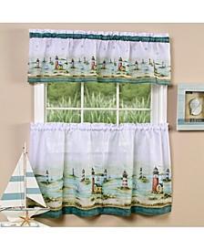 Hamptons Tier and Valance Window Curtain Set, 58x36