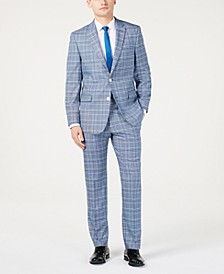 Men's Modern-Fit Light Blue Bold Plaid Suit Separates