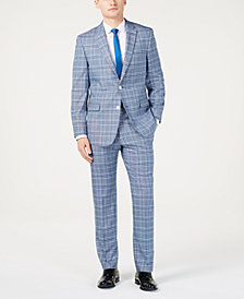 Tommy Hilfiger Men's Modern-Fit Light Blue Bold Plaid Suit Separates