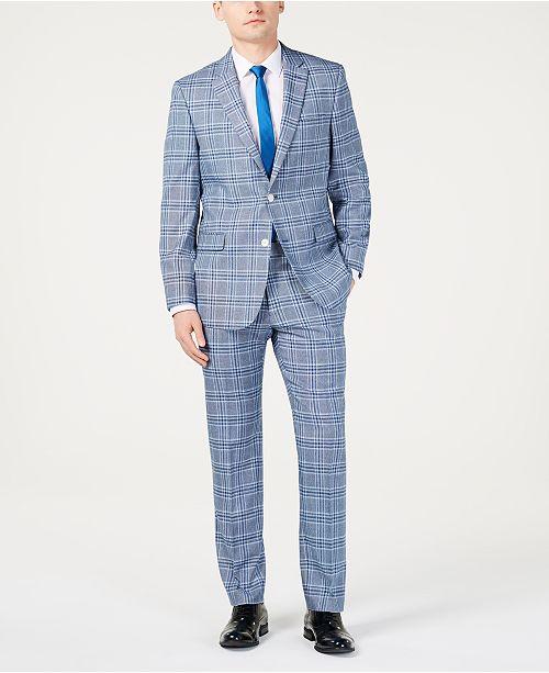 Tommy Hilfiger Men's Modern-Fit Light Blue Bold Plaid Suit Separates