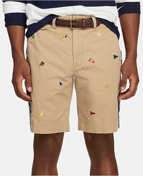 "Polo Ralph Lauren Men's 9.25"" Stretch Classic-Fit Embroidered Flag Short"