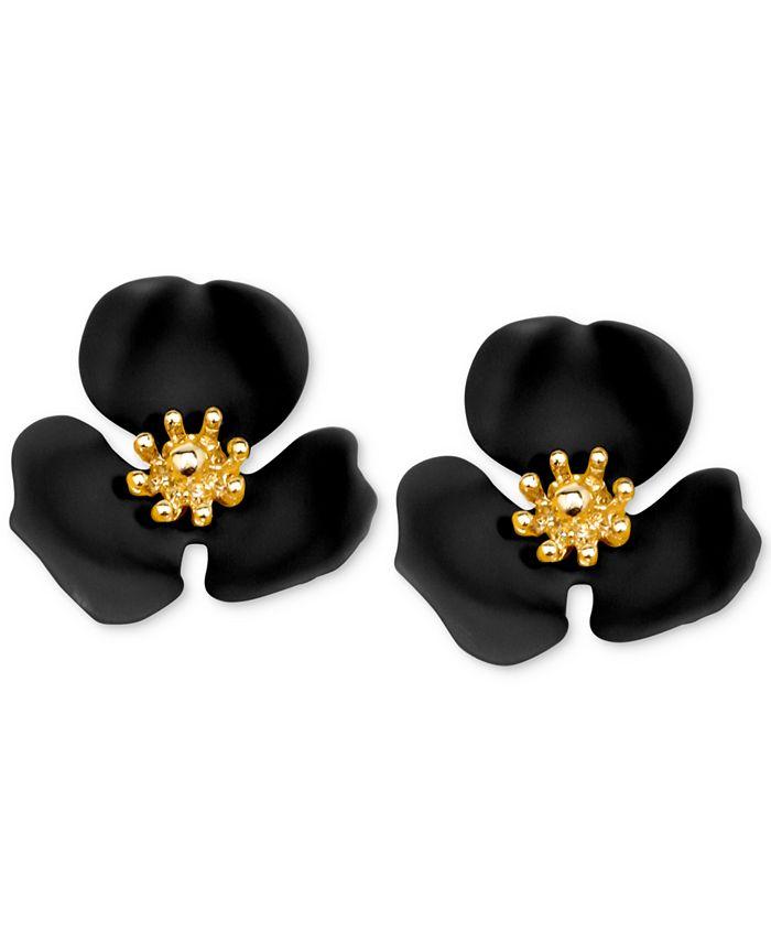 Zenzii - Gold-Tone Painted Flower Stud Earrings