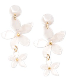 Gold-Tone Acetate Flower Double Drop Earrings