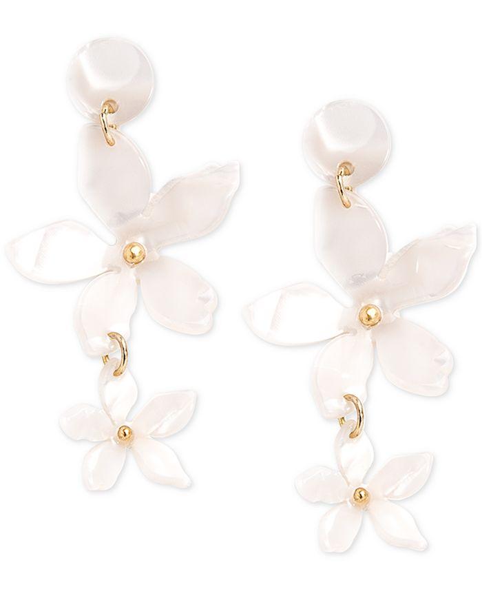 Zenzii - Gold-Tone Resin Flower Double Drop Earrings