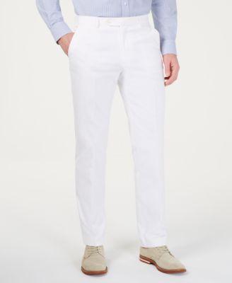Men's Modern-Fit THFlex Stretch Solid White Suit Pants