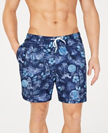 "Trunks Surf & Swim Co. Men's Splash Tropical-Print 6"" Volley Swim Trunks, Created for Macy's"