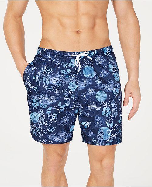 """Trunks Surf & Swim Co. Men's Splash Tropical-Print 6"""" Volley Swim Trunks, Created for Macy's"""