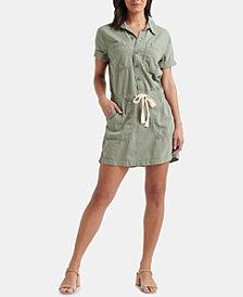 Lucky Brand Cotton Pocket Drawstring Dress