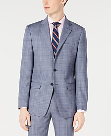 Calvin Klein Men's X-Fit Slim-Fit Natural Stretch Blue Plaid Suit Jacket