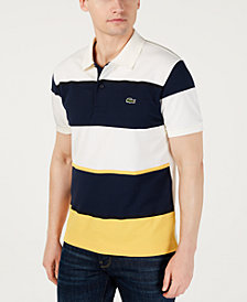 Lacoste Men's Classic-Fit Performance Stretch Moisture-Wicking Colorblocked Stripe Piqué Polo